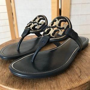 Tory Burch sz 7.5 Metal Miller Sandal flat slip on